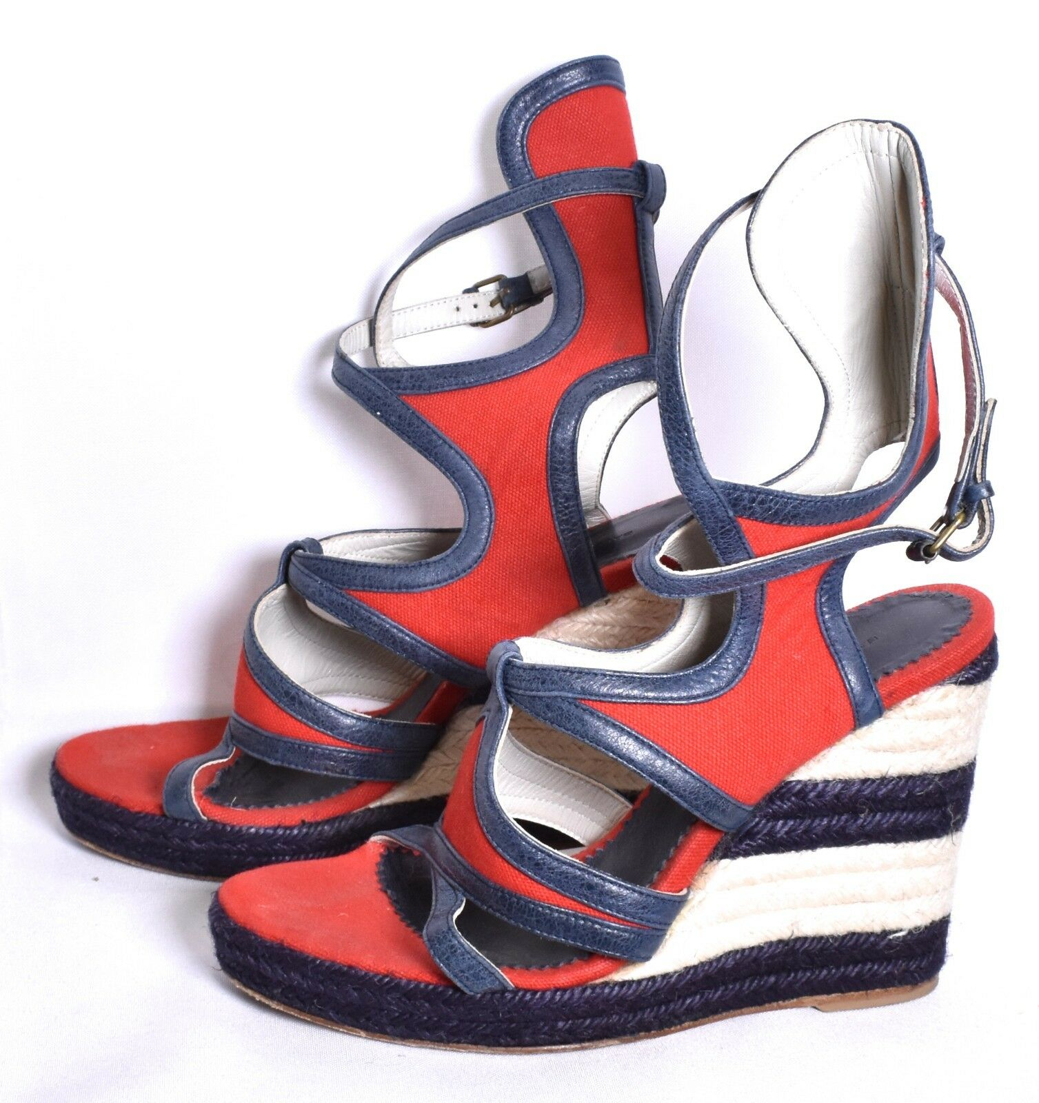 BALENCIAGA Espadrille Canvas Gladiator Credver Wedge Sandal (Sz 38 8) Red bluee