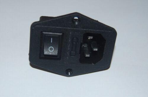 2PCS IEC C14 Panel Mount Rocker Switch Fuse Holder Power Socket AC 250V 15A