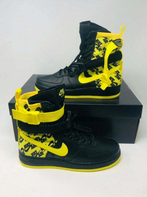 half off 2ff14 9c124 Nike SF AIR FORCE 1 Shoes Black Dynamic Yellow AR1955-001 Mens size 10