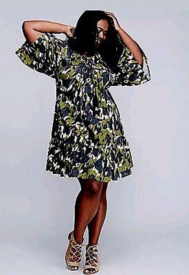 New Lane Bryant Dress Floral Camo Ruffle Hem Peasant Plus Women/'s