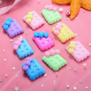 3-4cm-Polymer-Clay-Cabochons-Charms-Bow-Decor-Biscuit-Shaped-DIY-Crafts-10-pcs