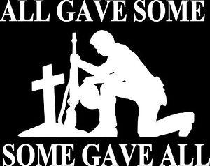 FALLEN SOLDIER Vinyl Decal Car Truck Window Sticker Military USA SOLDIER HERO