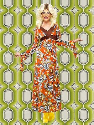 99✪ groovy Regenbogen Hippie Trompetenärmel Kleid Kostüm 60er 70er Jahre bunt