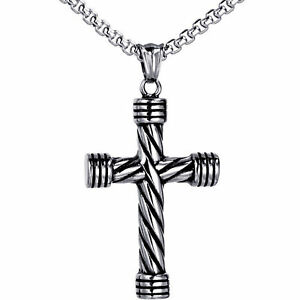 Men-039-s-Silver-Tone-Necklace-Vintage-Religious-Cross-Stainless-Steel-Pendant-Chain