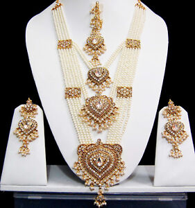 cedd58c5474 Details about Indian Wedding Costume Jewellery sets Long Pearl Rani Haar Bridal  Necklace Sets