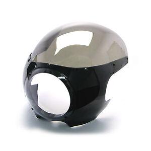 schwarz-Scheinwerfer-Verkleidung-Haube-getoent-Display-Harley-Davidson-klassisch