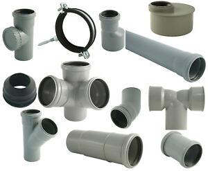 HT-Rohr-Abwasserrohr-Formstuecke-Abflussrohr-Schellen-DN32-40-50-75-100-110
