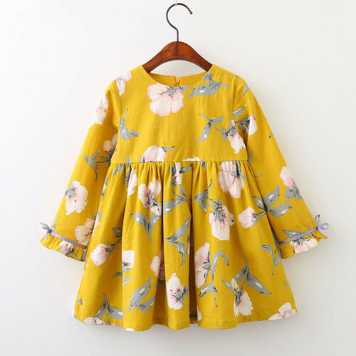Winter Toddler Baby Girl Princess Dress Long Sleeve Bowknot Party Dress Clothes