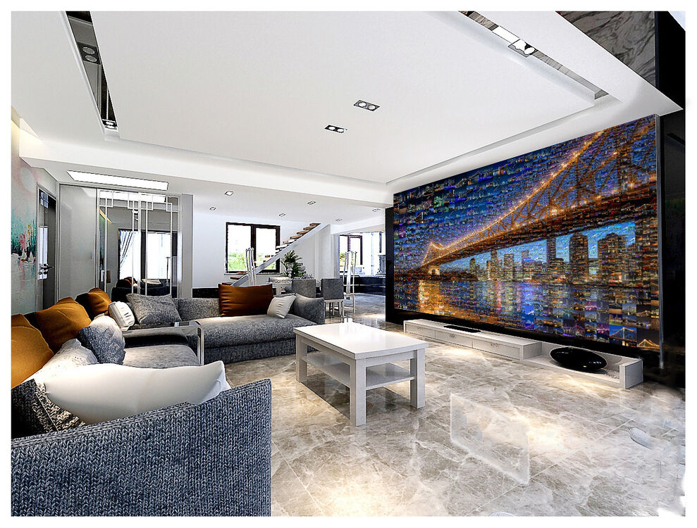 3D light bridge house Wall Paper Print Decal Wall Deco Indoor wall Mural