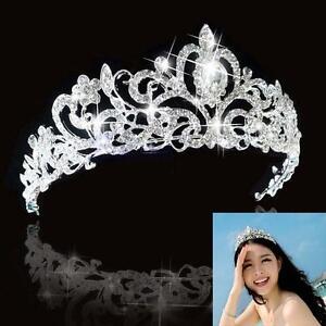 Bridal Bridesmaid Wedding Prom Crystal Rhinestone Diaman Crown Tiara Headband M