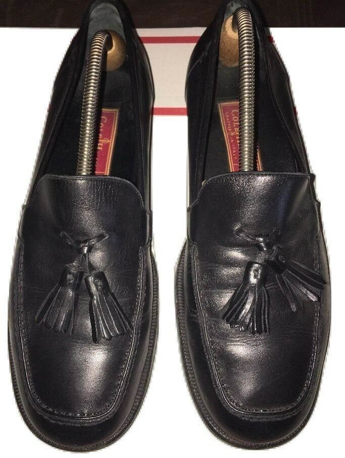 Men's Size 9.5 Cole Haan City Black Leather Slip On Loafers shoes Tassels