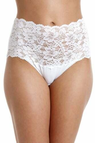 Camille Womens Ladies Underwear White High Waist Floral Lace Maxi Briefs