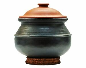 Gas and Microwave Unglazed Clay Handi//Earthen Pot for Indoor Outdoor Cooking 3L