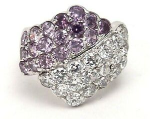 Sterling-Silver-Ring-Amethyst-color-Fashionable-Size-7-Bypass-Brand-New