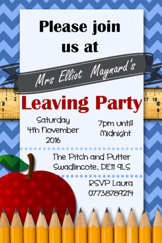 Personalised Teachers Teaching Leaving //Farewell Party Invites inc envelopes R14