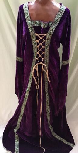 Vintage Purple Velvet Dress Lace Front Medieval Re