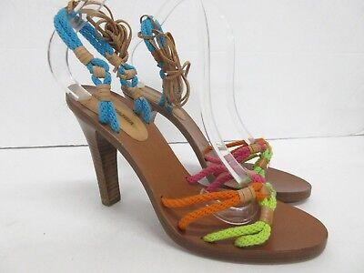 Ingegnoso Nuovo! Bcbgmaxazria Multicolore Filo Caviglia Avvolgente Sandalo In Pelle