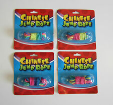 4 NEW CHINESE JUMP ROPES MULTI COLORED NEON ELASTIC JUMP ROPE CLASSIC TOY