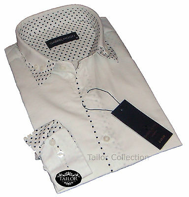 Brand New Mens Formal, Smart White and Black Dots Double Collar Slim Fit Shirt