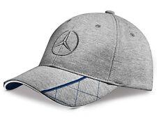 original Mercedes Benz Base Cap Mütze Hut grau blau Stickerei Logo 3D Stern NEU