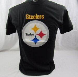 466bbc692 Men s NFL Pittsburgh Steelers Black Logo T-Shirt Size LARGE ...