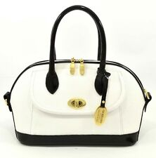 Giordano Made in Italy, Black & White Saffiano Leather Satchel Hand Bag Purse