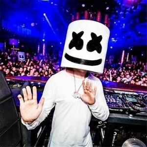 Halloween Cosplay DJ Marshmello Full Head Helmet Mask Music Party Props Bar