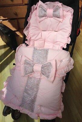 Universal Pram Seat Pushchair Cosy Toes Footmuff Liner Black Frills Romany