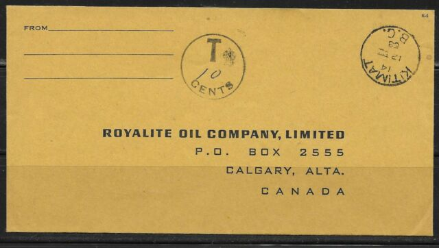 Canada BC British Columbia - Kitimat 1969 CDS Cancel Cover POSTAGE DUE