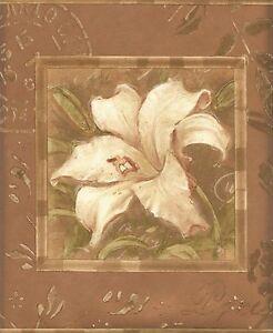 Wallpaper-Border-Framed-Tulip-Iris-amp-Lily-On-Gold