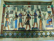 "PHARAOH HORUS ISIS AND MAAT ORIGINAL HAND PAINTED PAPYRUS 16""x24"" (40x60 CM)"