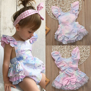 20ffc0fb1 UK Newborn Baby Girls Lace Floral Romper Bodysuit Jumpsuit Outfits ...