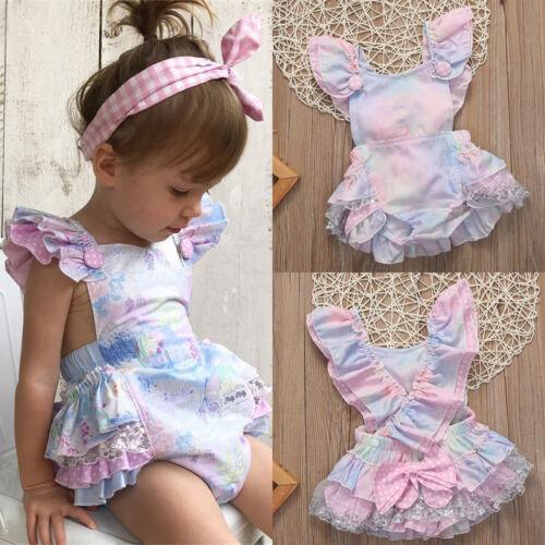 Floral Newborn Infant Baby Girl Bodysuit Romper Jumpsuit Outfits Sunsuit US cdy