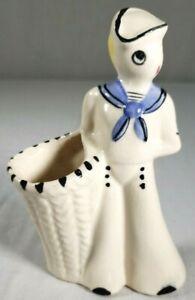 Vintage-1950-039-s-Sailor-Navy-Porcelain-Frozen-Figurine-7-034-Tall