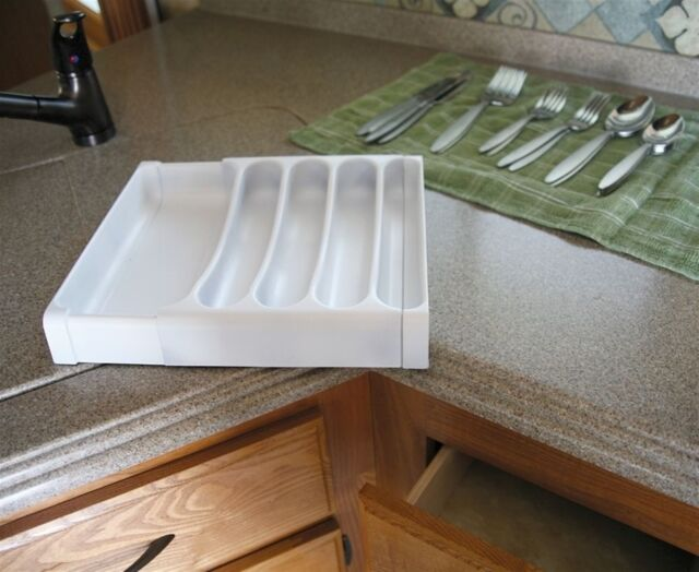 """Camco 43503 Adjustable 9/"""" to 15/"""" White Plastic Siverware Tray"""