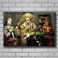 T1628 Poster Michael myer SLASHERS PLAYING POKER HORROR MOVIE BIG CHRIS Art