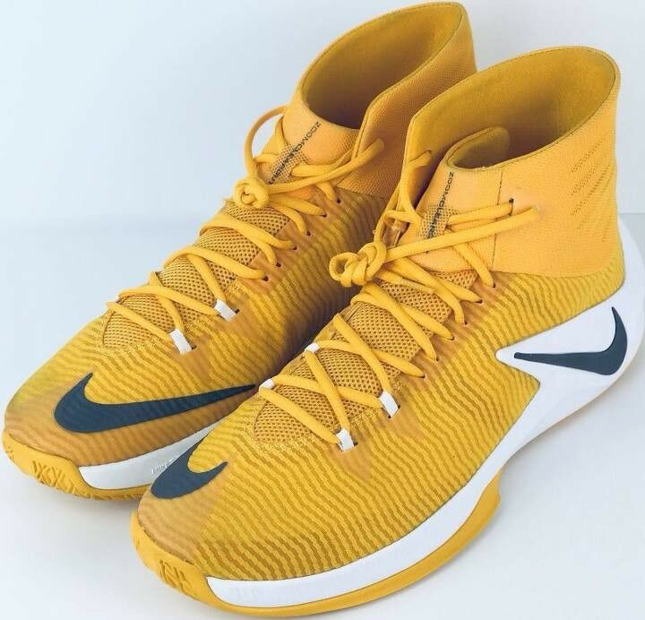 New Nike ZOOM CLEAR OUT Uomo's Yellow White Basketball Shoes Size 15