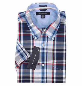 Tommy-Hilfiger-Men-039-s-Short-Sleeve-Custom-Fit-Casual-Shirt-0-Free-Ship