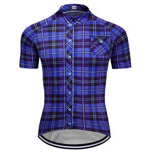 New-Mens-Short-Sleeve-Cycling-Jerseys-Team-Jersey-Plaid-Shirt-Navy-Blue-Color
