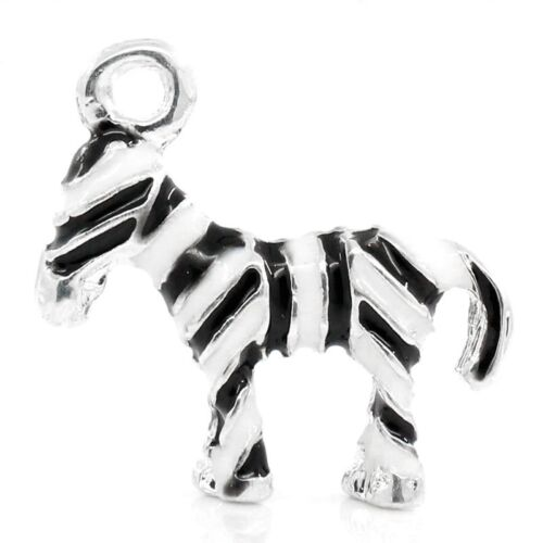 1 x Zebra Silver Plated  Enamel Pendant Charms