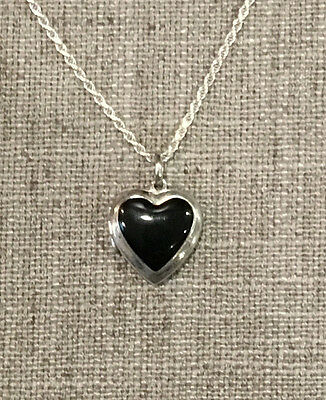 Silverly Womens .925 Sterling Silver Onyx Heart Locket Necklace