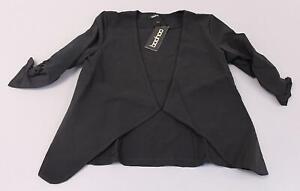 Boohoo-Women-039-s-Lily-Ruched-Sleeve-Waterfall-Blazer-MC7-Black-Size-US-4-UK-8