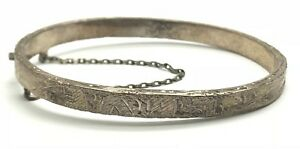 Antique-Oxidized-Taxco-Mexico-Sterling-Silver-Floral-Etch-Carved-Bangle-Bracelet