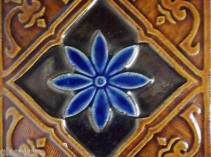"""Antique Art Nouveau MAJOLICA Tile Trivet 6.25"""" PORTUGAL Blue BROWN"""