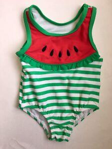 31ad6db449 Oshkosh Baby Girl Sz 3 6 M Watermelon Green Stripe Pink Swim Bathing ...