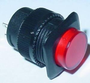 Drucktaster-mit-roter-LED-beleuchtet-Schliesser-Marke-250V-1A-S107S