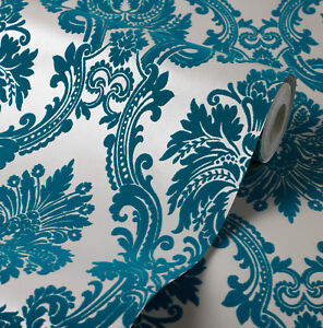 Exclusive casablanca velvet flock blue teal cream damask wallpaper 11006 ebay - Cream flock wallpaper ...