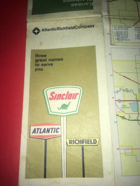 Details about Sinclair Gasoline 1960's States Of Kansas Oklahoma Travel on kansas state physical map, map of kansas and oklahoma, kansas soil maps, missouri pacific railroad map oklahoma,