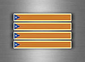 4x Aufkleber Auto Motorrad stripes Flagge Tuning Catalonia Katalanisch IND