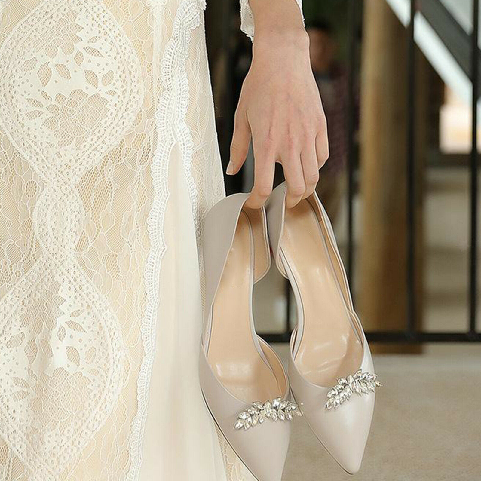 1 Pair Rhinestone Bridal Shoes Applique Patch with Beaded Crystal Diamond